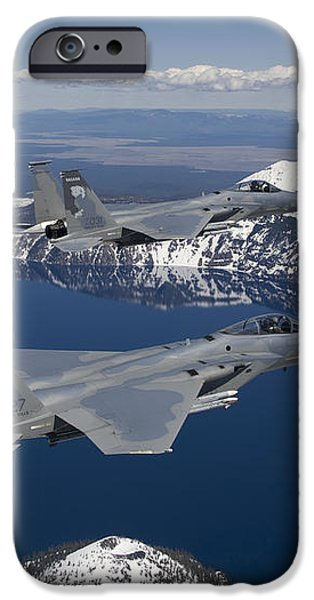 Two F-15 Eagles Fly Over Crater Lake iPhone Case by HIGH-G Productions