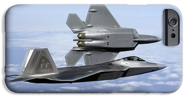 Flight iPhone Cases - Two F-22a Raptors In Flight iPhone Case by Stocktrek Images