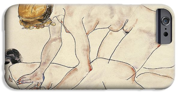 Sign Drawings iPhone Cases - Two Female Nudes iPhone Case by Egon Schiele