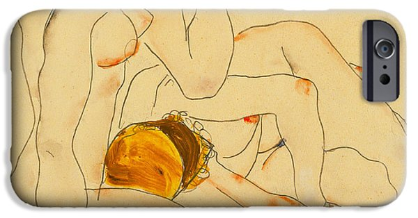 Figures iPhone Cases - Two Friends iPhone Case by Egon Schiele