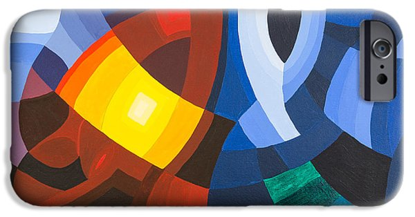 Deep Space Art Paintings iPhone Cases - Two Gates iPhone Case by Peter Hermes Furian