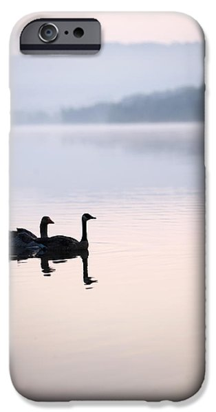 Animals Photographs iPhone Cases - Two Geese On Lake With Fog And Forested iPhone Case by Gillham Studios