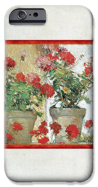 Terra Paintings iPhone Cases - Two Geranium Pots iPhone Case by Audrey Jeanne Roberts
