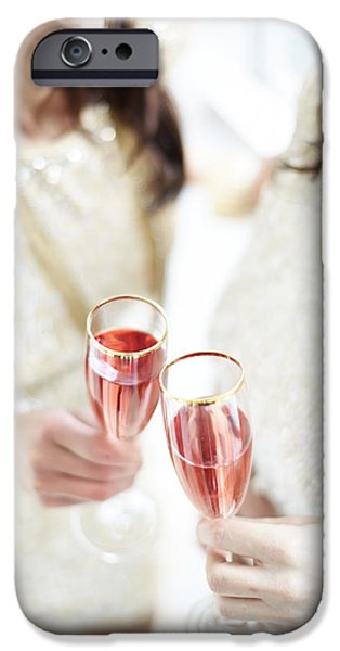 Caucasian iPhone Cases - Two Giggling Ladies Toasting Champagne iPhone Case by Gillham Studios