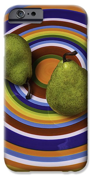 Pears iPhone Cases - Two Green Pears On Circle Plate iPhone Case by Garry Gay