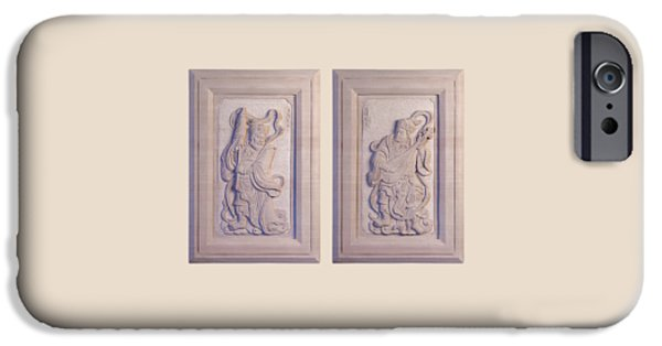 Original Art Reliefs iPhone Cases - Two Guardians of Buddhism iPhone Case by Terrell Kaucher