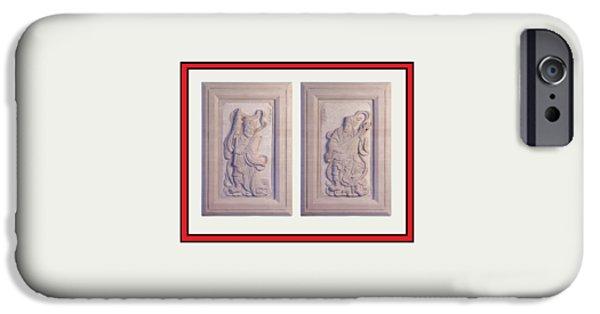 Original Art Reliefs iPhone Cases - Two Guardians Shower Curtain 2 iPhone Case by Terrell Kaucher