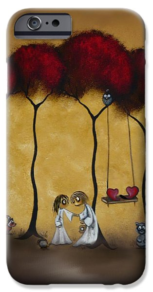 Whimsical. Paintings iPhone Cases - Two Hearts iPhone Case by Charlene Zatloukal