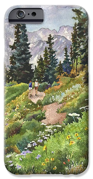 Fourth Of July Paintings iPhone Cases - Two Hikers iPhone Case by Anne Gifford