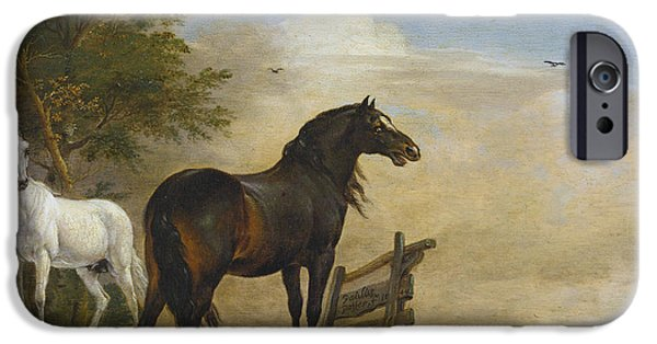 The Horse iPhone Cases - Two horses in a meadow near a gate iPhone Case by Celestial Images