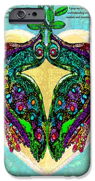 Couple iPhone Cases - Two Jewel Doves Ketubah iPhone Case by Michele  Avanti