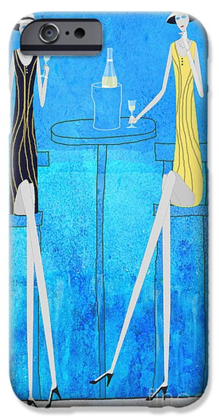 Table Wine Drawings iPhone Cases - Chit Chat iPhone Case by J Ripley Fagence