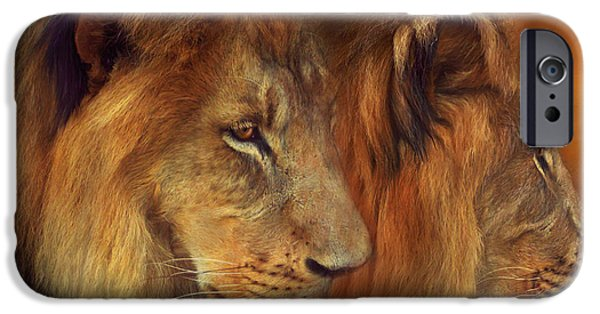 African Lion Art iPhone Cases - Two Lions iPhone Case by Carol Cavalaris