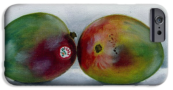 Mango Paintings iPhone Cases - Two Mangoes iPhone Case by Sarah Lynch