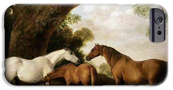 Young iPhone Cases - Two Mares and a Foal iPhone Case by George Stubbs