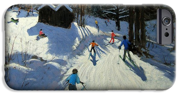 Winter Morning iPhone Cases - Two mountain huts iPhone Case by Andrew Macara