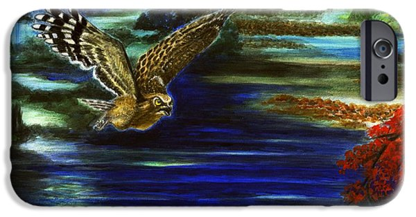 Bipolar Paintings iPhone Cases - Two. My Impression Of A Marine Sniper- Owl and Swamps iPhone Case by Zong Yi