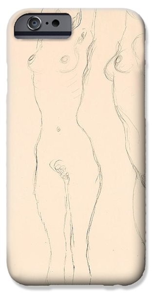 20th Drawings iPhone Cases - Two Nudes the Left One with Raised Arms  iPhone Case by Gustav Klimt