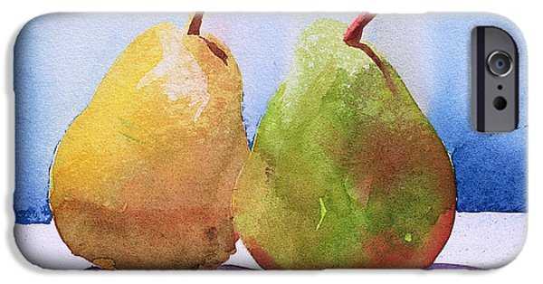 Pears Paintings iPhone Cases - Two Pears from the Jardinage iPhone Case by Simon Fletcher