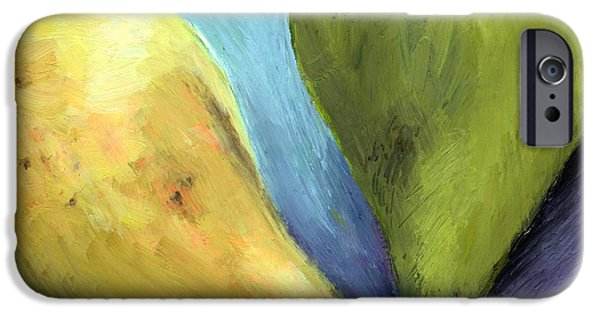 Vibrant Colors Drawings iPhone Cases - Two Pears Still Life iPhone Case by Michelle Calkins