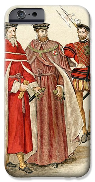 Swiss Drawings iPhone Cases - Two Peers In Their Robes, And A iPhone Case by Ken Welsh