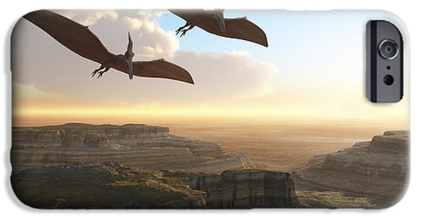 Triassic iPhone Cases - Two Pterodactyl Flying Dinosaurs Soar iPhone Case by Corey Ford