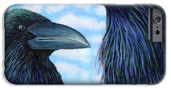 Raven iPhone Cases - Two Ravens iPhone Case by Brian  Commerford