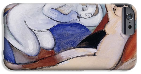 Figures iPhone Cases - Two Reclining Nudes iPhone Case by Franz Marc