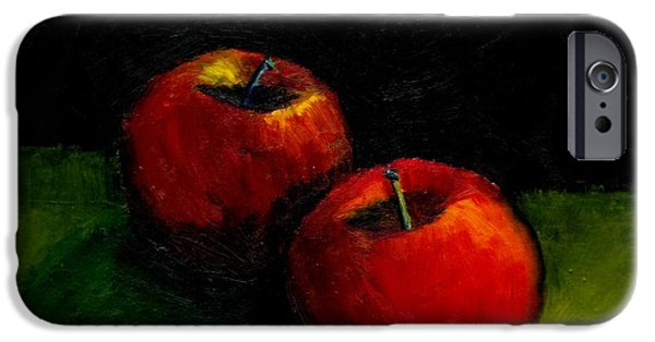 Michelle iPhone Cases - Two Red Apples Still Life iPhone Case by Michelle Calkins