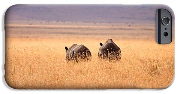 Ngorongoro Crater iPhone Cases - Two Rhinos iPhone Case by Adam Romanowicz