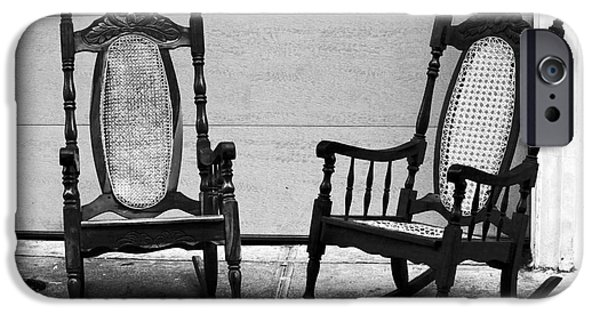 Rocking Chairs Photographs iPhone Cases - Two Rocking Chairs iPhone Case by John Rizzuto
