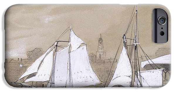 Winslow Homer iPhone Cases - Two Schooners iPhone Case by Winslow Homer