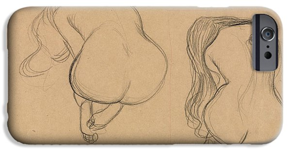 20th Drawings iPhone Cases - Two Studies of a Seated Nude with Long Hair iPhone Case by Gustav Klimt