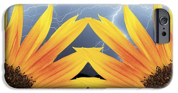 Lightning Photographer iPhone Cases - Two Sunflower lightning Storm iPhone Case by James BO  Insogna