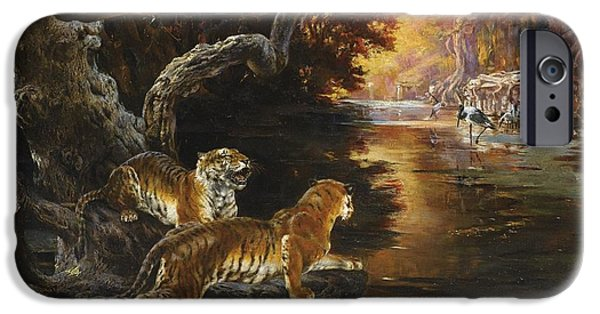 The Tiger Hunt iPhone Cases - Two Tigers On The Hunt iPhone Case by Rudolf Ernst