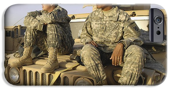 Iraq iPhone Cases - Two U.s. Army Soldiers Relax Prior iPhone Case by Stocktrek Images