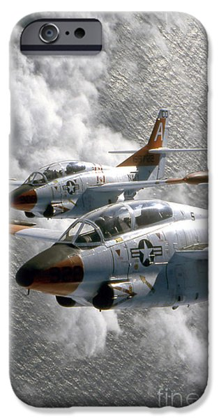Vertical Flight iPhone Cases - Two U.s. Navy T-2c Buckeye Aircraft iPhone Case by Stocktrek Images