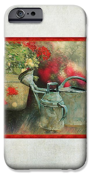 Dappled Light iPhone Cases - Two Watering Cans in the Garden iPhone Case by Audrey Jeanne Roberts