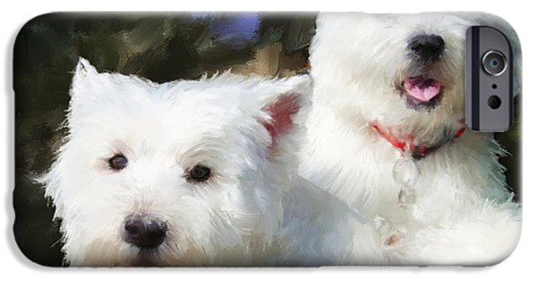 Dog Close-up iPhone Cases - Two Westies iPhone Case by Debra Baldwin