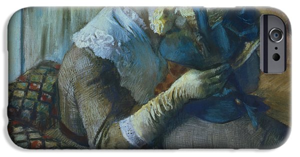 Boaters iPhone Cases - Two Women iPhone Case by Edgar Degas