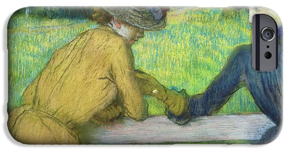 Friends Meeting iPhone Cases - Two women leaning on a gate iPhone Case by Edgar Degas