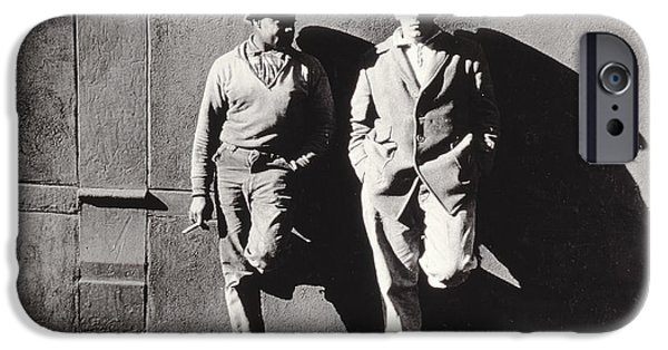 Laborers iPhone Cases - Two Workmen Against a Building iPhone Case by Nat Herz