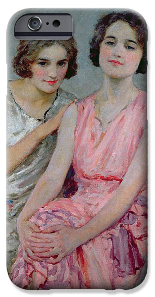 Young iPhone Cases - Two Young Women Seated iPhone Case by William Henry Margetson