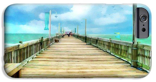Tybee Island Pier iPhone Cases - Tybee Island Pier in Watercolor iPhone Case by Tammy Wetzel
