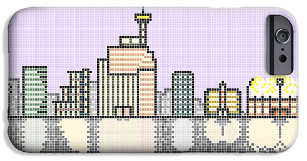 Business Digital Art iPhone Cases - Typical City Skyline at Night iPhone Case by Solomonjee