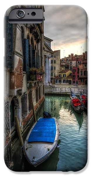 Built Structure Pyrography iPhone Cases - Typical venetian canal with boats at sunset iPhone Case by Riccardo Zimmitti