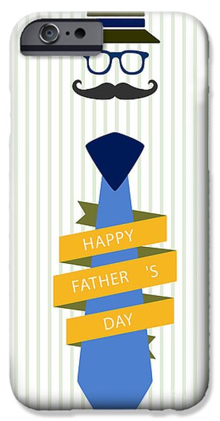 Conscious Paintings iPhone Cases - Typography Poster - Happy Fathers Day iPhone Case by Celestial Images