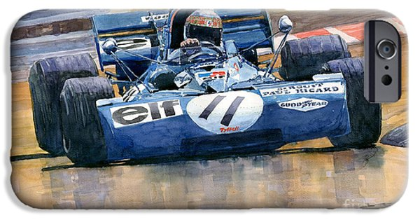 F 1 iPhone Cases - Tyrrell Ford 003 Jackie Stewart 1971 French GP iPhone Case by Yuriy  Shevchuk