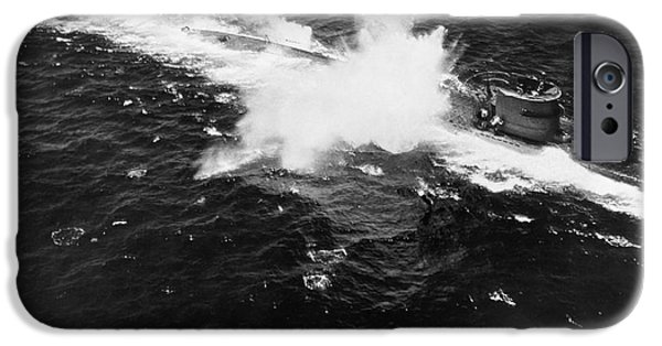 Bombing iPhone Cases - U-boat Under Attack, 1943 iPhone Case by Omikron