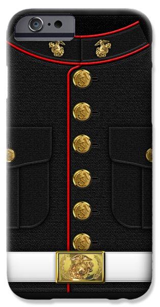 Marine Corps Digital iPhone Cases - U S M C Dress uniform iPhone Case by Serge Averbukh